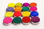 stock photo of holi  - Colorful Indian Holi festival dyes on white background - JPG