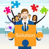 picture of jigsaw  - Business People Group Hold Jigsaw Puzzle Piece Concept of Solution Team Vector Illustration - JPG