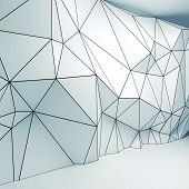 foto of polygon  - Abstract white and white square 3d interior with polygonal wireframe relief pattern on the wall - JPG