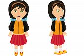 picture of bow tie hair  - A black haired girl seen from the front and side with low pigtails tied with blue bows - JPG