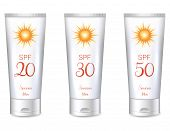 stock photo of pigment  - Sunscreen lotion bottles SPF from lower till very high protection - JPG