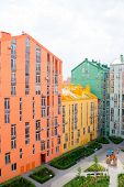 foto of colorful building  - Aerial view on colorful residential buildings - JPG