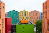 stock photo of colorful building  - Aerial view on colorful residential buildings - JPG