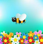 stock photo of bee cartoon  - Cartoon funny bee flying over flowers - JPG