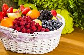stock photo of fruit  - Basket full of fruit Healthy fruits and vegetables - JPG