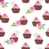 stock photo of eat me  - Chocolate sugar powdered cupcakes with hearts seamless vector print - JPG