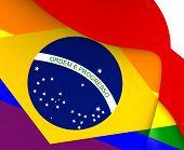 stock photo of gay flag  - Brazil Gay 3D Flag - JPG