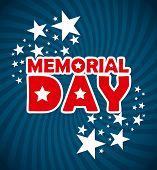 stock photo of memorial  - Memorial Day design over blue background - JPG