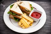 pic of french fries  - Sandwich with fried eggs - JPG