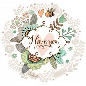 image of you are awesome  - Sweet I love you concept floral design in vector - JPG
