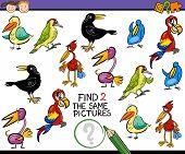 stock photo of brain teaser  - Cartoon Illustration of Finding the Same Picture Educational Game for Preschool Children - JPG