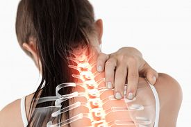 pic of red-necked  - Digital composite of Highlighted spine of woman with neck pain - JPG