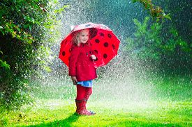 picture of rainy weather  - Little girl with red umbrella playing in the rain - JPG