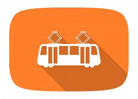 image of tram  - tram flat design modern icon with long shadow for web and mobile app  - JPG