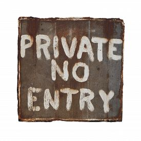 stock photo of no entry  - Isolated rusty and battered metal sign - JPG