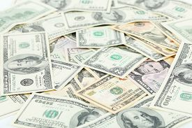 picture of two dollar bill  - Dollars bill background close up - JPG
