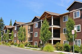 picture of suburban city  - New apartment complex in the suburban neighborhood - JPG
