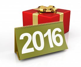 image of jack-in-the-box  - Gift box with 2016 calendar on the white background - JPG
