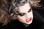 Vampire Woman Portrait With Mouth Open Showing Teeth Canines, Halloween Make Up poster