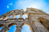 Ancient Roman Amphitheater in Pula, Croatia. Famous tourist destination. poster