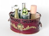 picture of decoupage  - decoupaged case full of scents and perfumes - JPG