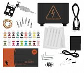 Постер, плакат: Set of professional tattoo equipment No outline