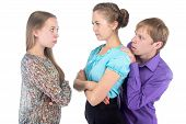 Cowardly Blond Man And Two Young Women poster