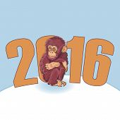 Постер, плакат: Year of the Monkey Beautiful hand drawn monkey