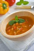 Wooden Bowl With Mexican Bean Soup