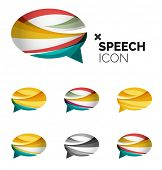 Set of abstract speech bubble and cloud icons, business logotype concepts, clean modern geometric de poster
