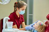 Постер, плакат: Pediatric dentist examining little girls teeth in the dentists chair