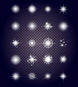 Set Glows Bright Star Light Fireworks poster