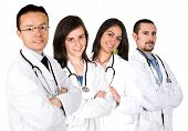 image of medical doctors  - medical team with male and female doctors over a white background - JPG