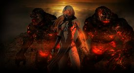 pic of sorcerer  - female sorcerer character with two troll beasts - JPG