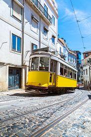 foto of tram  - Vintage tram in the city center of Lisbon Lisbon Portugal in a summer day - JPG