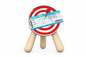 pic of archery  - Bus Ticket in Center of Archery Target on a white background - JPG