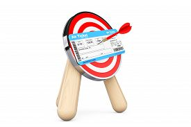 picture of archery  - Air Ticket in Center of Archery Target on a white background - JPG