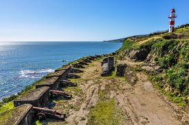 picture of cannon  - Cannons in the Spanish fortress in Niebla Valdivia Patagonia Chile - JPG