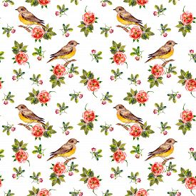 foto of wild-brier  - Sentimental retro floral seamless backdrop with wild roses and birds - JPG