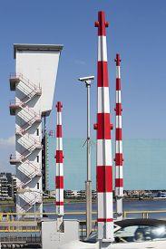 picture of safety barrier  - Barriers on the Algera bridge over the river IJssel in Krimpen aan den IJssel - JPG