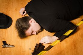 picture of corpses  - Corpse of business man lays on a floor - JPG