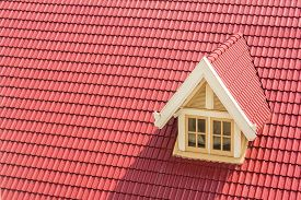 picture of red roof  - Dormer window on red roof - JPG