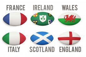 stock photo of nationalism  - Six nations rugby balls with nations flags on them - JPG