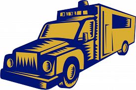 picture of ambulance  - Illustration of an ambulance emergency vehicle truck viewed from front on isolated white background done in retro woodcut style - JPG
