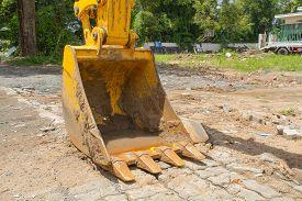 foto of backhoe  - The backhoe digger loader vehicle at outdoor - JPG