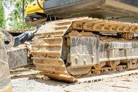 picture of bulldozers  - Crawler bulldozer machine during at construction site - JPG