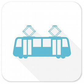 image of tram  - tram blue flat icon - JPG
