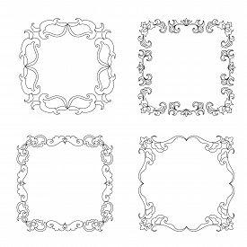image of mehndi  - Set of coloring frames mehndi elements isolated - JPG