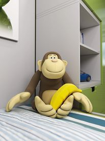 stock photo of kamasutra  - 3d illustration of a toy monkey in a nursery - JPG