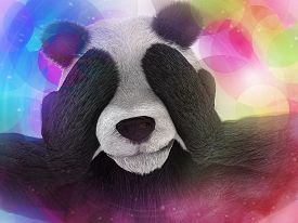 pic of peyote  - sick character panda bamboo junkie experiencing strong hallucinations and fear closes the muzzle paws - JPG